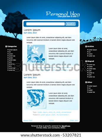 Web site template for your blog, vector illustration - stock vector