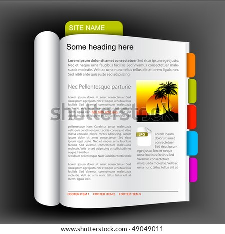 Web site template - Open book with colorful bookmarks - stock vector