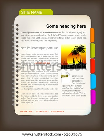 Web site template - Open notepad with colorful bookmarks - stock vector
