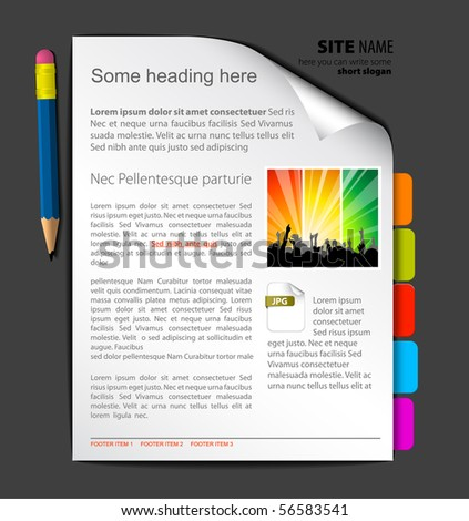 Web site template - sheet of paper with colorful bookmarks - stock vector