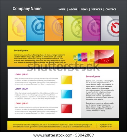 Web 2.0 site template, vector. - stock vector