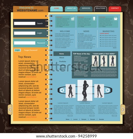 Web Site Template , vector - stock vector