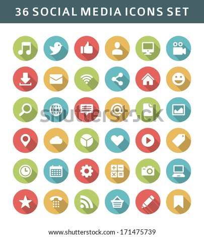 Web site vector icons set shadow effect. Social media design elements for design. - stock vector