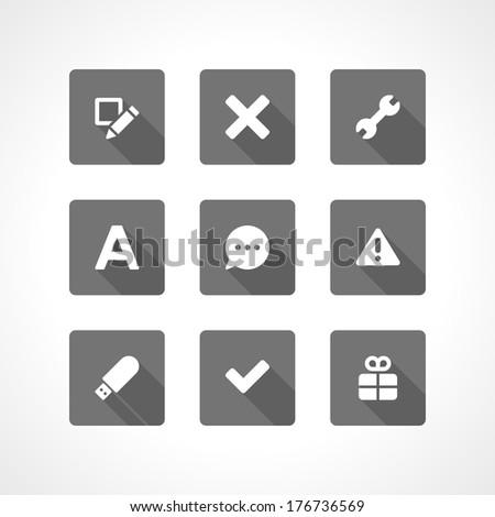Web site vector icons set shadow effect. Vector design elements for design.  - stock vector