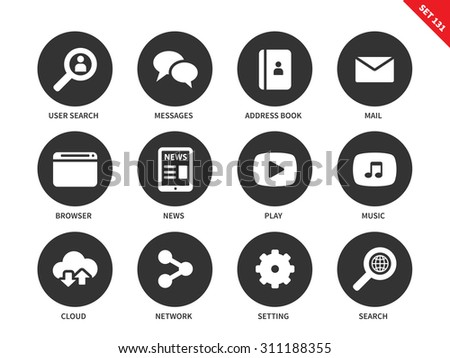 Web sites vector icons set. Items for social networks and web pages, user, message, address book, mail, news, play, music, cloud, settings, search. Isolated on white background