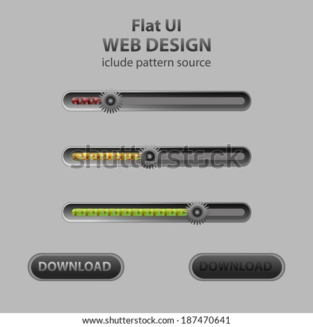 Web sliders in flat design, include pattern source