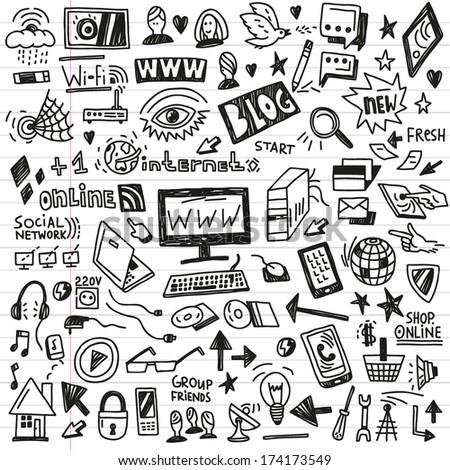 web,social media, devices -  doodles set - stock vector