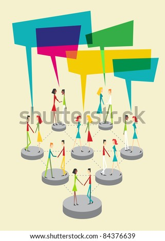 Web social relationship diagram showing people connected with colorful sticky balloons. - stock vector