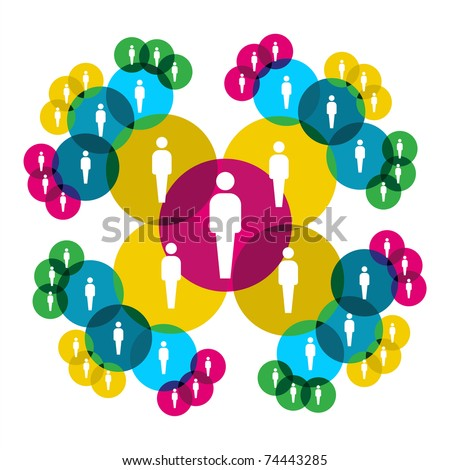 Web social relationship diagram showing people silhouettes connected by colorful circles. - stock vector