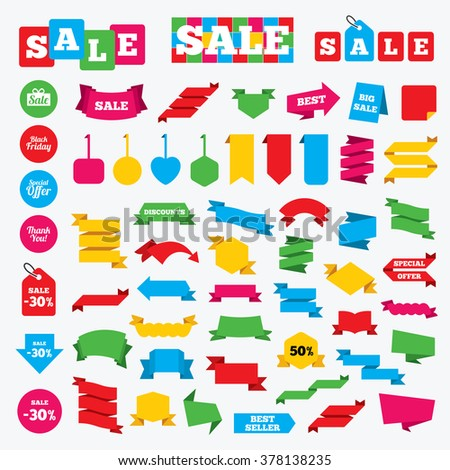 Web stickers, banners and labels. Sale icons. Special offer and thank you symbols. Gift box sign. Price tags set. - stock vector
