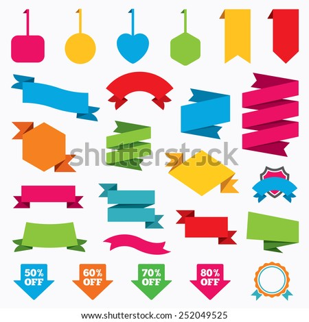 Web stickers, tags and banners. Sale arrow tag icons. Discount special offer symbols. 50%, 60%, 70% and 80% percent off signs. Template modern labels. Vector - stock vector