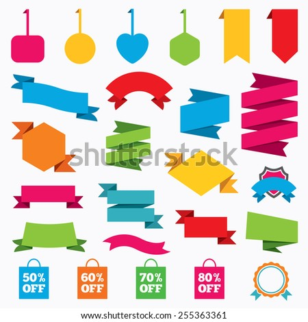 Web stickers, tags and banners. Sale bag tag icons. Discount special offer symbols. 50%, 60%, 70% and 80% percent off signs. Template modern labels. Vector - stock vector