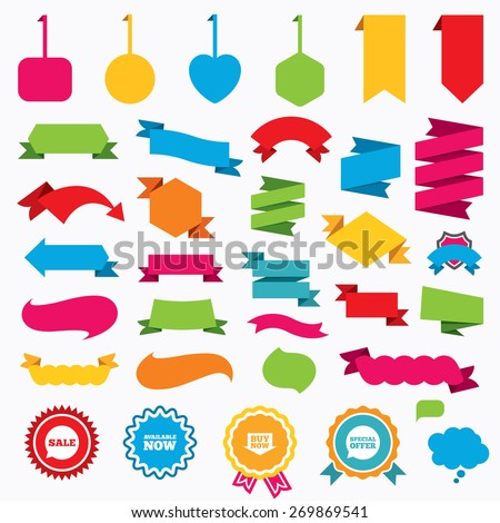 Web stickers, tags and banners. Sale icons. Special offer speech bubbles symbols. Buy now arrow shopping signs. Available now. Speech bubbles and award labels. Vector - stock vector