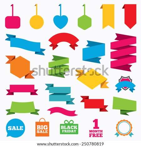 Web stickers, tags and banners. Sale speech bubble icon. Black friday gift box symbol. Big sale shopping bag. First month free sign. Template modern labels. Vector - stock vector