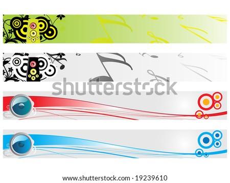 web 2.0 style musical series website banner, illustration - stock vector