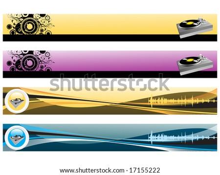 web 2.0 style musical series website banner set 9, illustration - stock vector