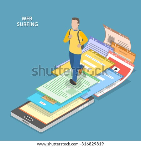 Web surfing isometric flat vector concept. Men with backpack is running on the smartphone and web pages are flying from under his feet. - stock vector