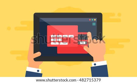 Web Template and Elements for site form of online shopping and enter card data on tablet. Vector