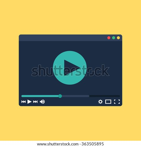 Web Template and Elements for site form of watching online video. Vector - stock vector