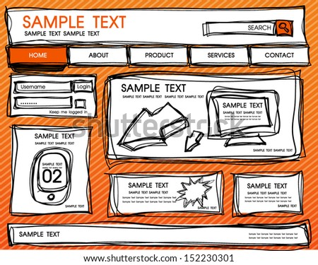 web template comic sketch style - stock vector