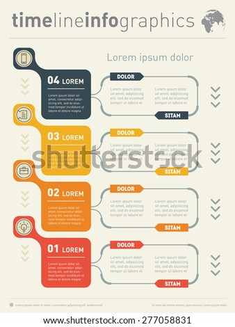Web Template for vertical diagram or presentation. Business concept with four options. Vector infographic of technology or education process. Part of the report. - stock vector