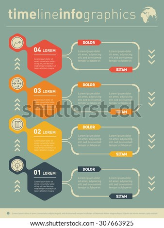 Web Template for vertical diagram or presentation. Business concept with four options. Vector infographic of technology or education process. Part of the report.
