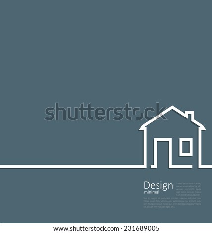 Web template house logo in minimal flat style cleaness line - vector - stock vector