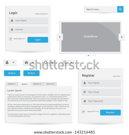 Web template | vector design eps | silver color with blue | login register slideshow buttons search options | abstract elements with icons - stock vector