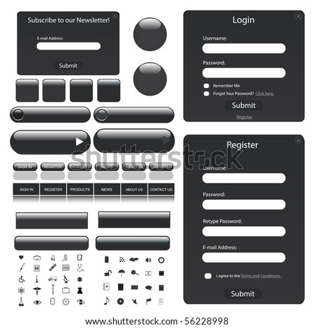 Web template with forms, bars, buttons and many icons. - stock vector