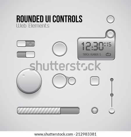 Web UI Controls Design Elements: Buttons, Switchers, On, Off, Player, Audio, Video: Play, Stop, Pause, Volume, Equalizer, Knobs, Progress Bar, Screen, Display - stock vector