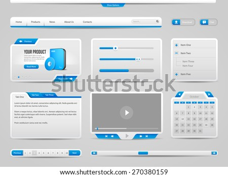 Web UI Controls Elements Gray And Blue: Navigation Bar, Buttons, Form, Slider, Menu, Tabs, Search, Scroll, Download, Pagination, Calendar, Equalizer, Progress, Video Player, Calendar, Login Form - stock vector