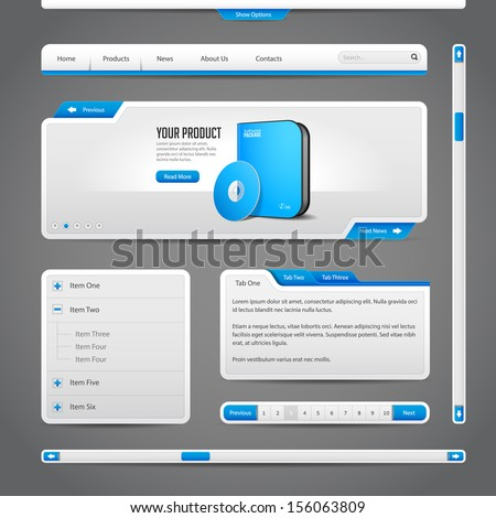 Web UI Controls Elements Gray And Blue On Dark Background: Navigation Bar, Buttons, Form, Slider, Message Box, Menu, Tabs, Search, Scroll, Download, Pagination, Download  - stock vector