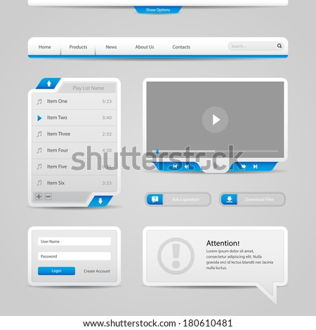 Web UI Controls Elements Gray And Blue On Light Background: Navigation Bar, Buttons, Login Form, Play List, Message Box, Menu, Video Player, Play, Stop, Search, Download, Tooltip  - stock vector