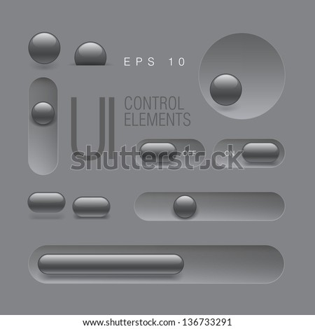 Web UI Elements. Buttons, Switches, bars, power buttons, sliders. Vector illustration - stock vector