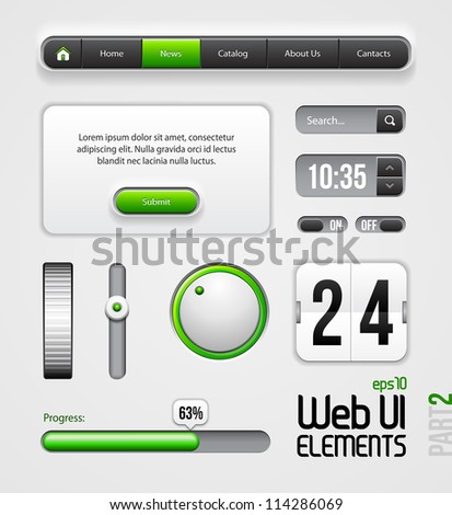Web UI Elements Design Gray Green: Part 2 - stock vector