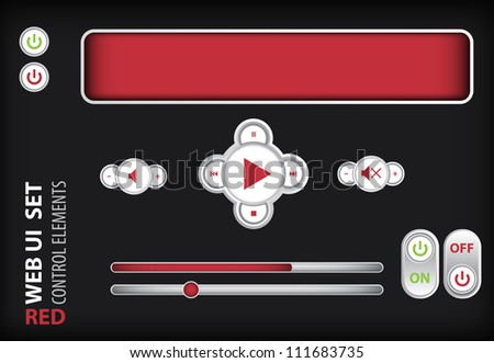 Web UI Elements Red. Design Elements: Buttons, Switchers - stock vector