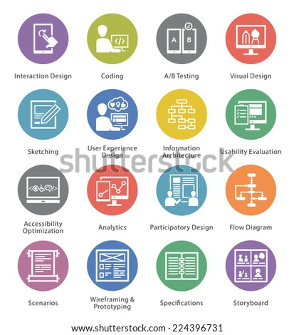 Web Usability & Accessibility Icons Set 2 - Cercle Series  - stock vector