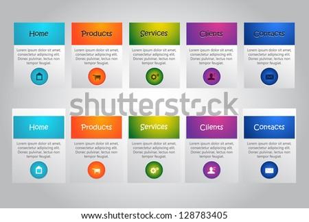 Web User Interface elements. Menu. - stock vector