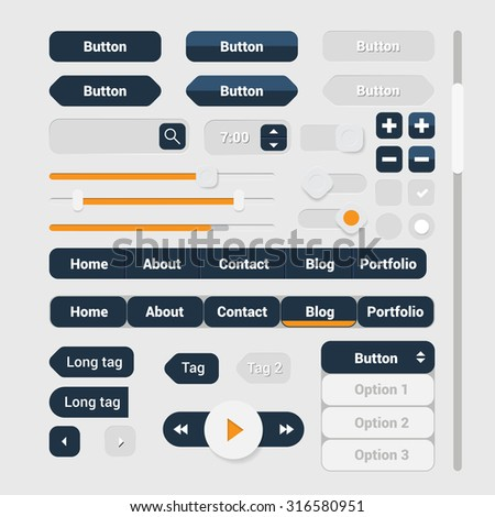 Web user interface elements set. GUI Interfaces elements collection. Vector UI design.