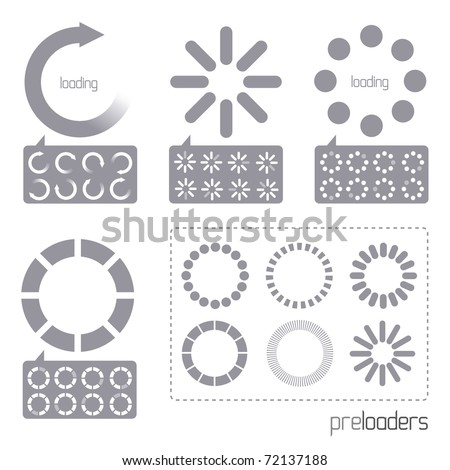 Web 2.0 Vector Progress Loader Icons. A collection of vector internet progress loader icons - stock vector