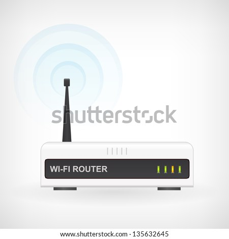 Web waves wireless wi-fi router modem vector icon - stock vector