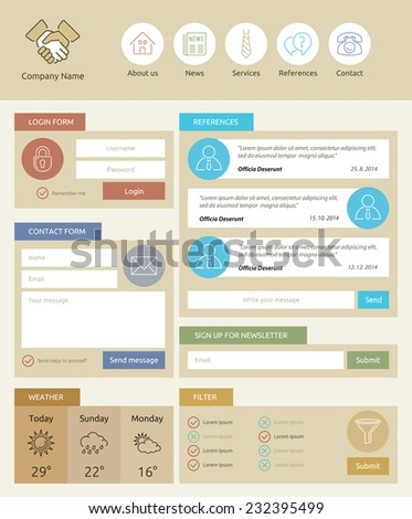Web widget - contact form - infographic vector element - icon, symbol - stock vector