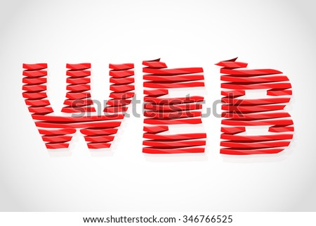 WEB. World Wide Web concept. Wrapped ribbon text. - stock vector