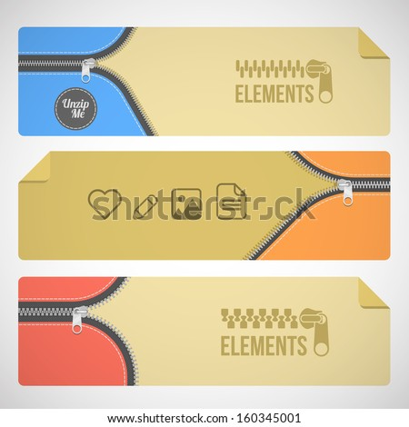 web zipper background banners with icons - stock vector