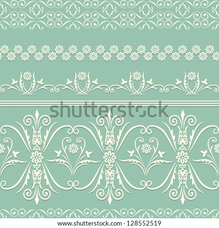 Webbing, lace, border seamless pattern with swirling decorative floral elements. Edge of the fabric, wallpaper - stock vector
