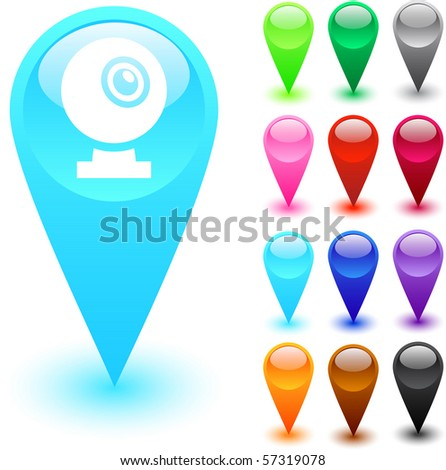 Webcam glossy web buttons. - stock vector