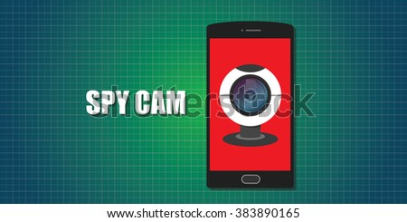 webcam web cam phone smartphone  spy vector - stock vector