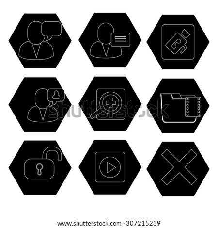 webdesign icons, technology icons, Media and communication icons  - stock vector