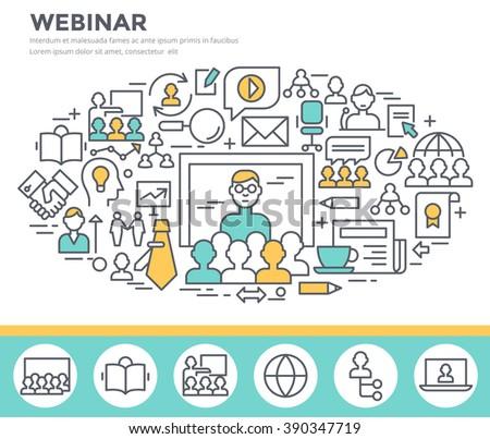 Webinar and online seminar concept illustration, thin line flat design - stock vector