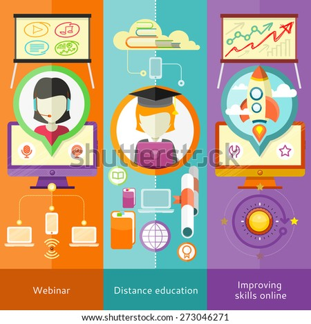 Webinar, distance education and learning. Improving skills online.  Online courses in web school. Knowledge and information. Study process. E-learning. Banners in flat design with place for text - stock vector
